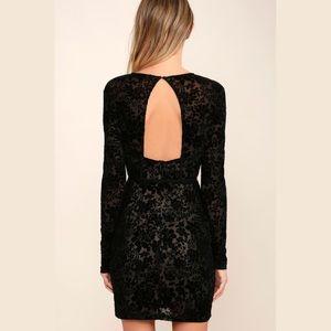 Lulus Black Burnout Velvet Print Dress